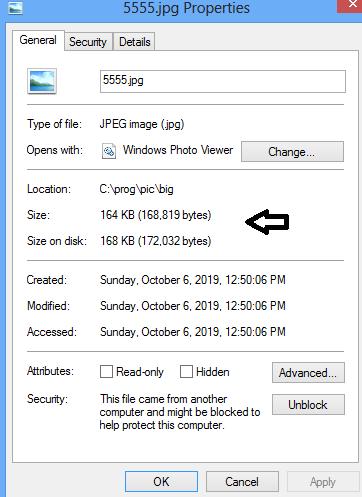 نمایش حجم فایل ها در ویندوز
